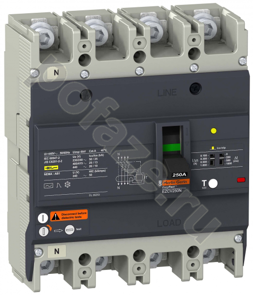 Schneider Electric EasyPact EZC 4П 250А 25кА (IP20)